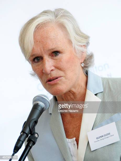Actress and Founder of 'Bring Change 2 Mind' Glenn Close speaks during a press conference announcing that Fountain House an organization that assists...
