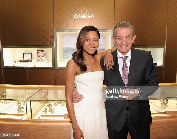 Actress and friend of OMEGA Naomie Harris and President of OMEGA Stephen Urquhart attend a special cocktail reception at the OMEGA 5th Avenue...