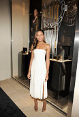 Actress and friend of OMEGA Naomie Harris attends a special cocktail reception at the OMEGA 5th Avenue Boutique prior to the OMEGA 'Spectre' New York...