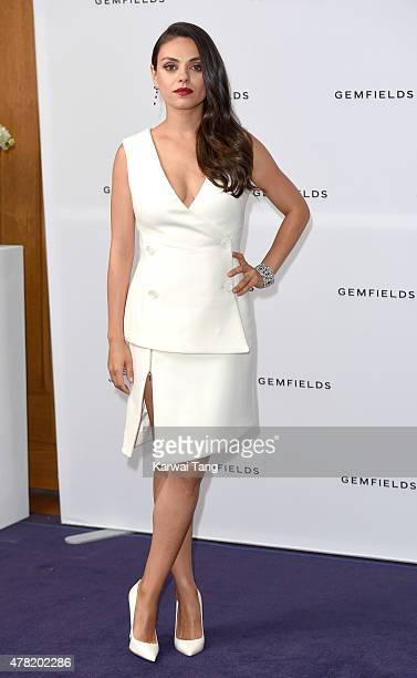 Actress and Gemfields brand ambassador Mila Kunis attends a photocall for the launch of Gemfields Mozambican rubies in London at Corinthia Hotel...