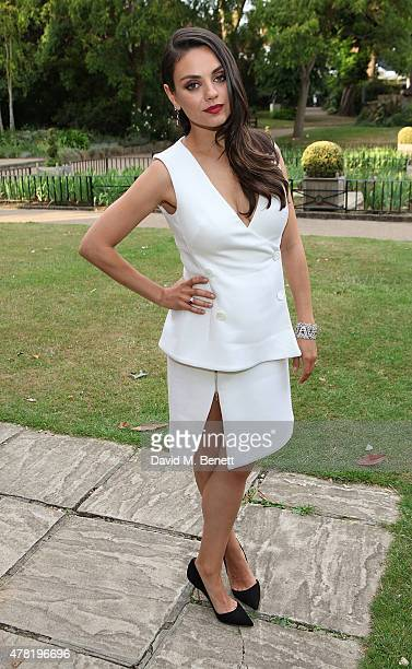 Actress and Gemfields brand ambassador Mila Kunis attends the launch of Gemfields Mozambican Rubies at The Orangery on June 23 2015 in London England