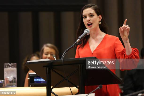 Actress and Global Goodwill Ambassador Anne Hathaway speaks during 'Women in the Changing World of Work Planet 5050 by 2030' at 2017 International...