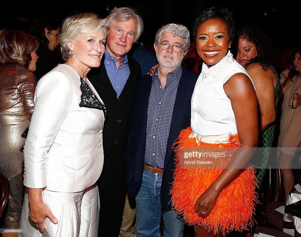 Actress and honoree Glenn Close David Evans Shaw director George Lucas and Mellody Hobson attend the Sundance Institute Vanguard Leadership Award...