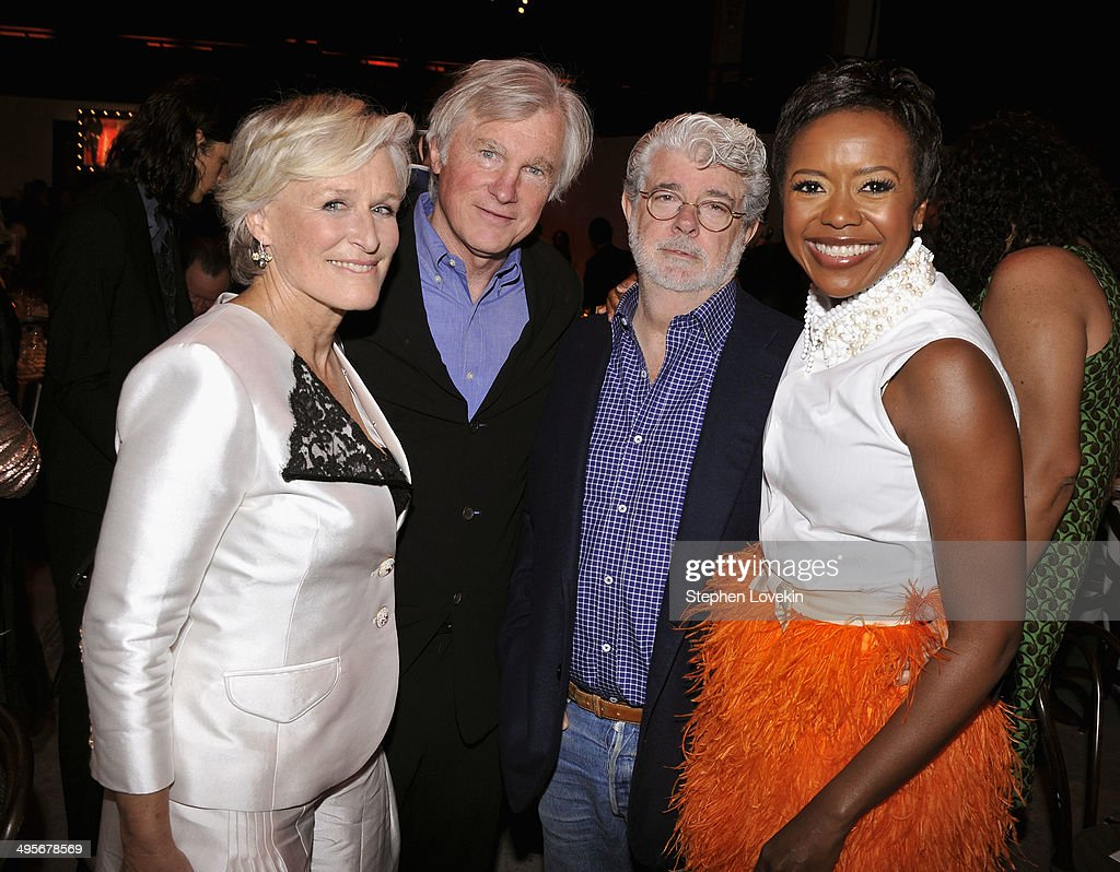 Actress and honoree Glenn Close David Evans Shaw director George Lucas and Mellody Hobson attend the Sundance Institute New York Benefit 2014 at...