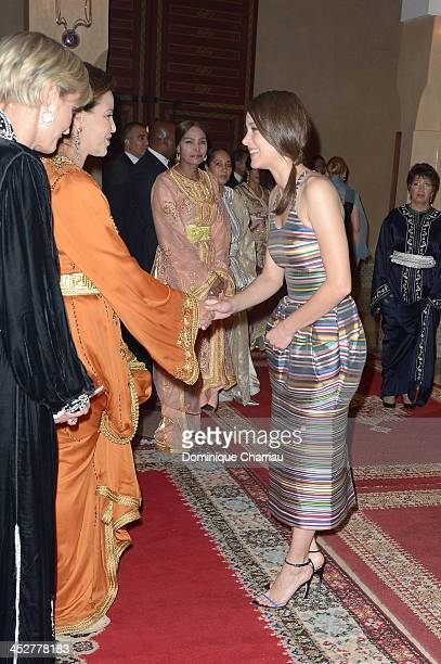Actress and Jury Member Marion Cotillard is greeted by Princess Lalla Meryem of Morocco and Melita Toscan du Plantier as she attends the Royal Gala...