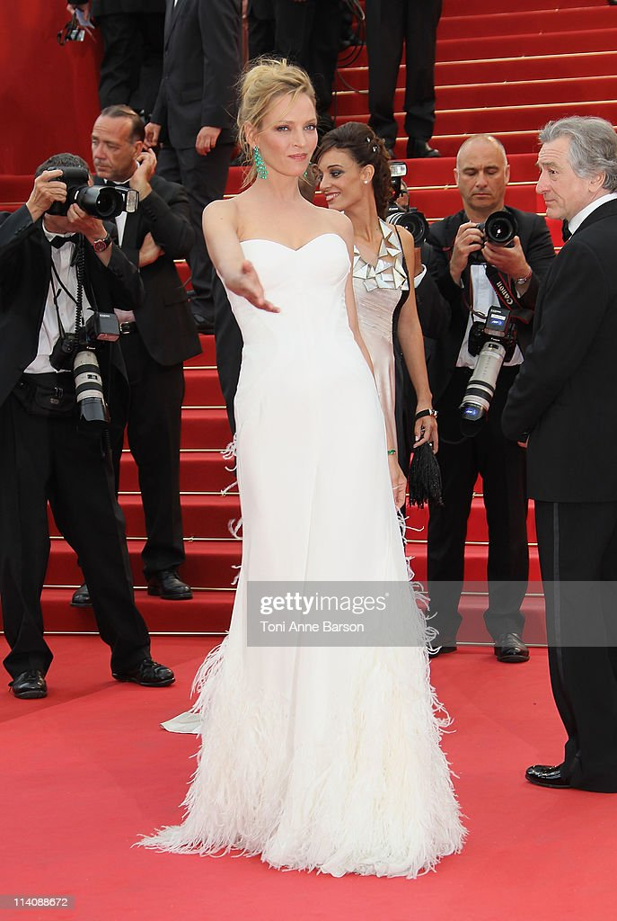 Actress and Jury member Uma Thurman attends the Opening Ceremony and 'Midnight In Paris' Premiere at the Palais des Festivals during the 64th Cannes...