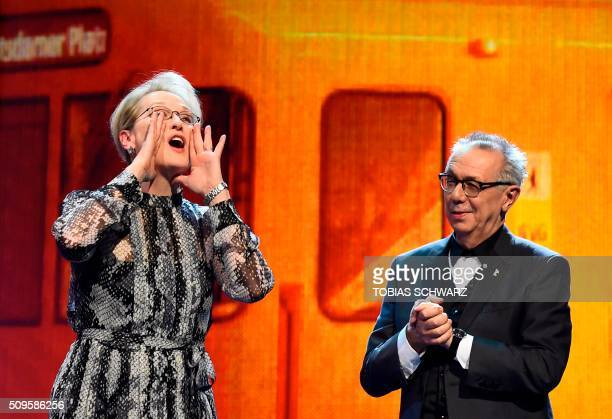 TOPSHOT US actress and jury president Meryl Streep and festival director Dieter Kosslick take the stage prior to the film 'Hail Caesar' screening as...