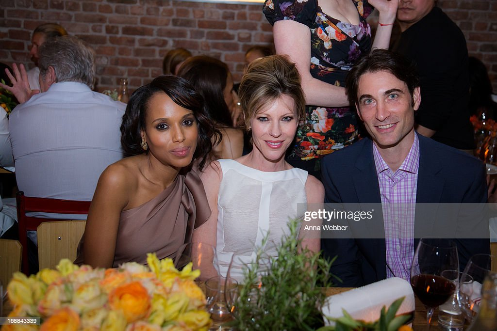 Actress and <a gi-track='captionPersonalityLinkClicked' href=/galleries/search?phrase=Kerry+Washington&family=editorial&specificpeople=201534 ng-click='$event.stopPropagation()'>Kerry Washington</a>, Editor-in-Chief of ELLE magazine <a gi-track='captionPersonalityLinkClicked' href=/galleries/search?phrase=Robbie+Myers&family=editorial&specificpeople=2260300 ng-click='$event.stopPropagation()'>Robbie Myers</a> and Kevin O'Malley attend ELLE & Tod's Celebrate <a gi-track='captionPersonalityLinkClicked' href=/galleries/search?phrase=Kerry+Washington&family=editorial&specificpeople=201534 ng-click='$event.stopPropagation()'>Kerry Washington</a> at Il Buco Alimentari & Vineria on May 15, 2013 in New York City.