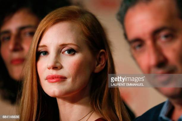 US actress and member of the Feature Film jury Jessica Chastain and Italian director and member of the Feature Film jury Paolo Sorrentino attend on...
