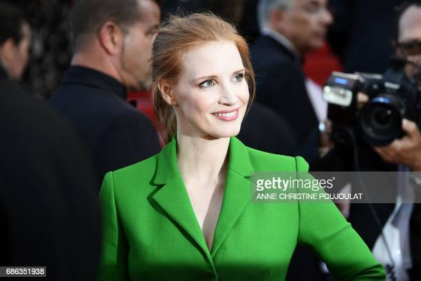 US actress and member of the Feature Film jury Jessica Chastain poses as she arrives on May 21 2017 for the screening of the film 'The Meyerowitz...