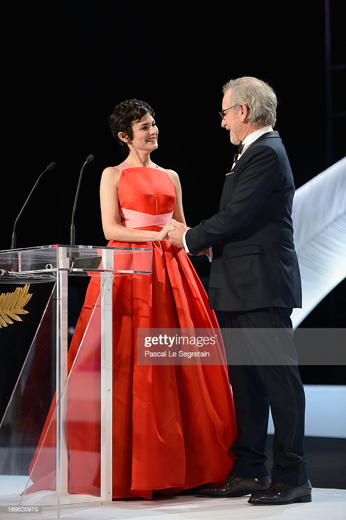 Actress and mistress of ceremonies at the Cannes Film Festival Audrey Tautou and President of the Feature Film Jury Steven Spielberg speak on stage at the Inside Closing Ceremony during the 66th Annual Cannes Film Festival at the Palais des Festivals on May 26, 2013 in Cannes, France.