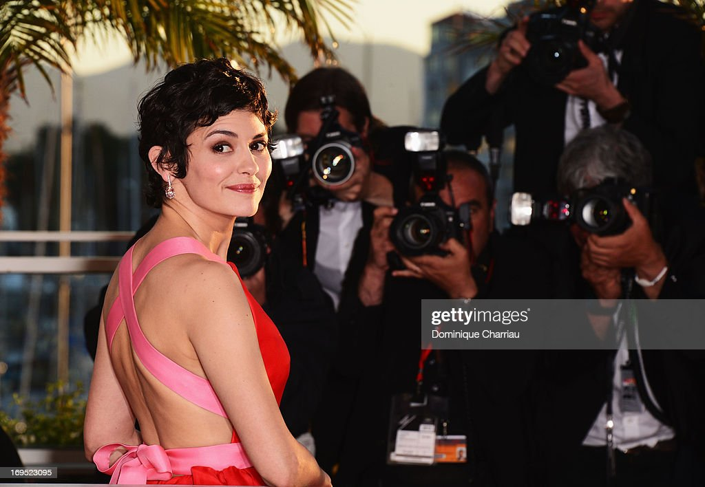 Actress and mistress of ceremonies at the Cannes Film Festival Audrey Tautou attends photocall for award winners during the 66th Annual Cannes Film Festival at Palais des Festivals on May 26, 2013 in Cannes, France.