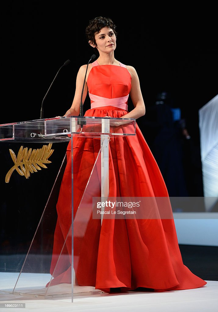 Actress and mistress of ceremonies at the Cannes Film Festival Audrey Tautou speaks on stage at the Inside Closing Ceremony during the 66th Annual Cannes Film Festival at the Palais des Festivals on May 26, 2013 in Cannes, France.