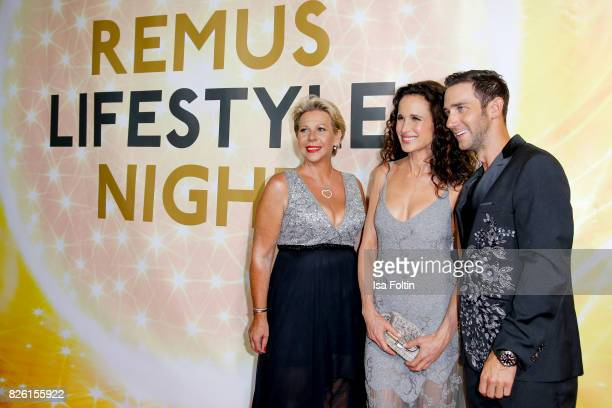 US actress and model Andie MacDowell with Marcel Remus and his mother Silke Remus during MacDowellattends the Remus Lifestyle Night on August 3 2017...