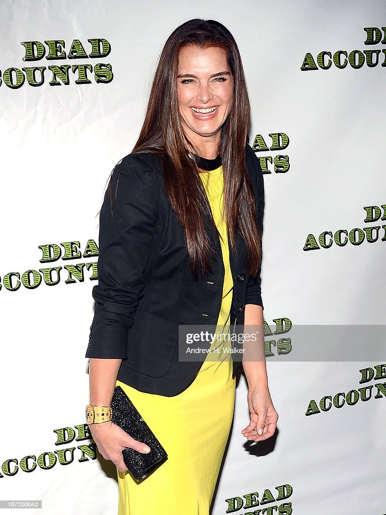 Actress and model Brooke Shields attends the 'Dead Accounts' Broadway opening night arrivals and curtain call at the Music Box Theatre on November 29, 2012 in New York City.