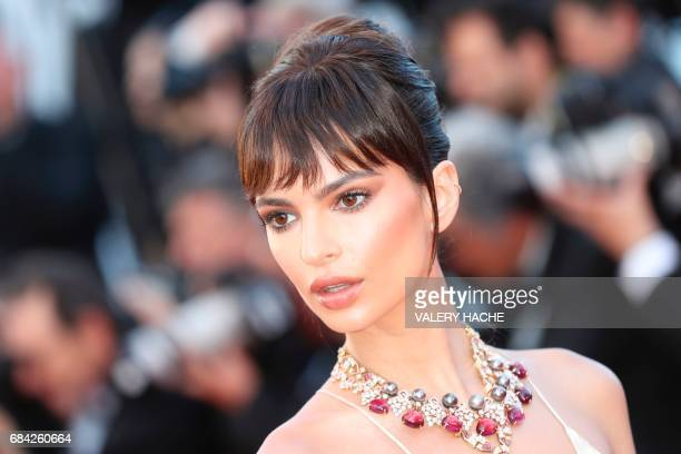 US actress and model Emily Ratajkowski poses as she arrives on May 17 2017 for the screening of the film 'Ismael's Ghosts' during the opening...