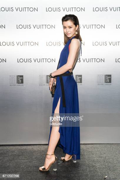 Actress and model Janice Man poses at the red carpet during the opening night of the Time Capsule Exhibition by Louis Vuitton on 21 April 2017 in...