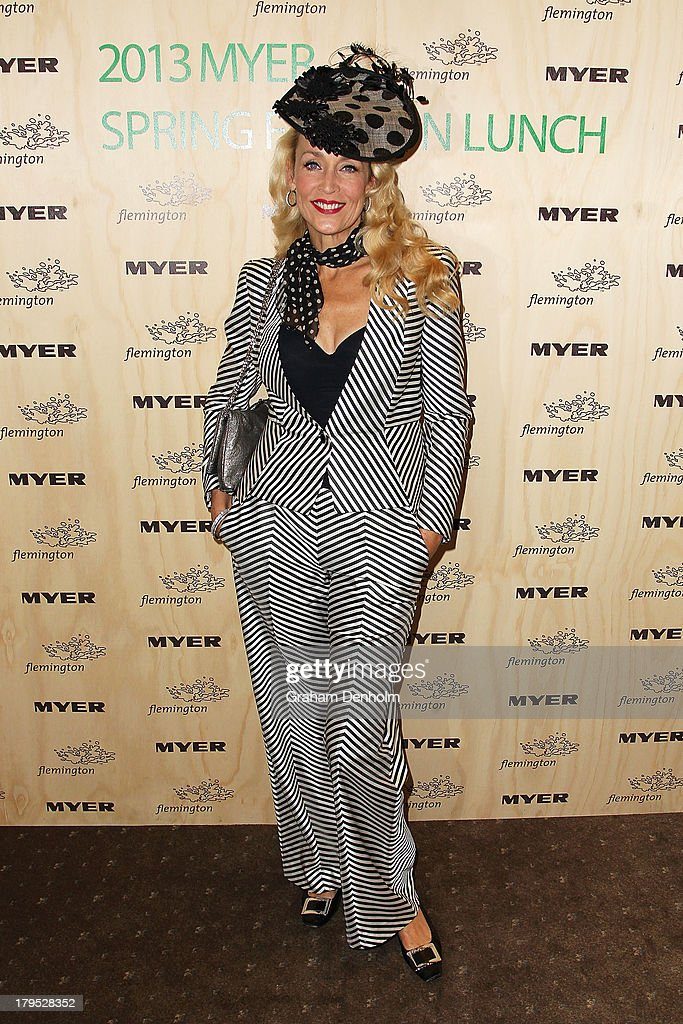 Actress and model <a gi-track='captionPersonalityLinkClicked' href=/galleries/search?phrase=Jerry+Hall&family=editorial&specificpeople=171120 ng-click='$event.stopPropagation()'>Jerry Hall</a> poses as she arrives at the Myer Spring Fashion Lunch at Flemington Racecourse on September 5, 2013 in Melbourne, Australia.