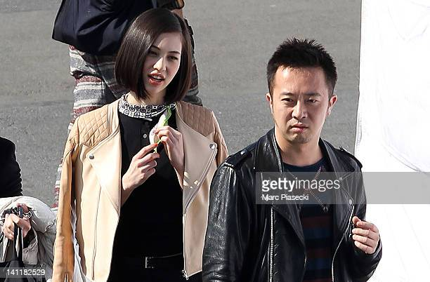 Actress and model Kiko Mizuhara sighted during a photo shoot on Pont Alexandre III on March 12 2012 in Paris France