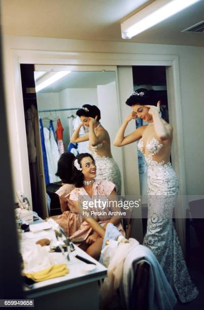 Actress and model Kitty Dolan talks to another showgirl dancer in the dressing room at The Tropicana Hotel circa 1958 in Las Vegas Nevada