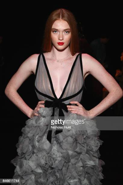 Actress and model Larsen Thompson attends the Marchesa fashion show during New York Fashion Week The Shows at Gallery 1 Skylight Clarkson Sq on...