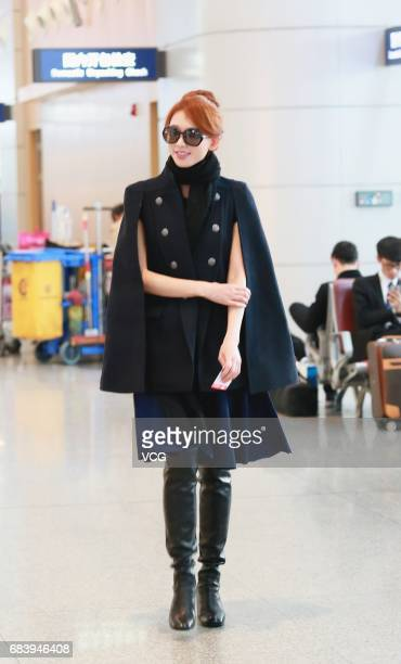 Actress and model Lin Chiling arrives at Changsha Huanghua Airport on May 17 2017 in Changsha Hunan Province of China
