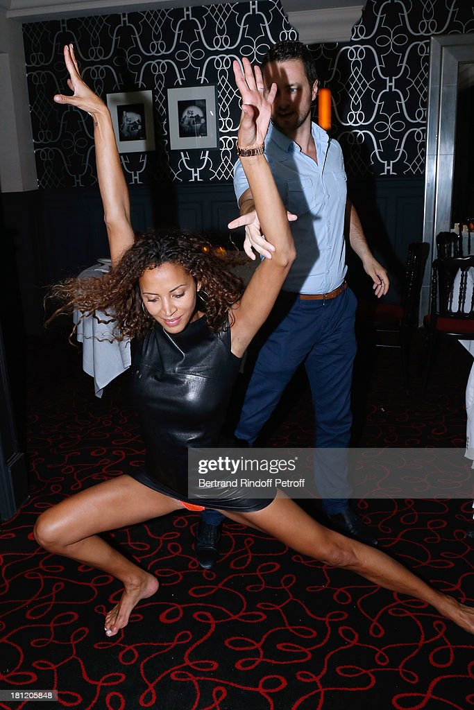 Actress and model <a gi-track='captionPersonalityLinkClicked' href=/galleries/search?phrase=Noemie+Lenoir&family=editorial&specificpeople=240424 ng-click='$event.stopPropagation()'>Noemie Lenoir</a> celebrates her 34th birthday and dance with her Dance professor Christian Millette at 'A.Club Party' at Castel on September 19, 2013 in Paris, France.