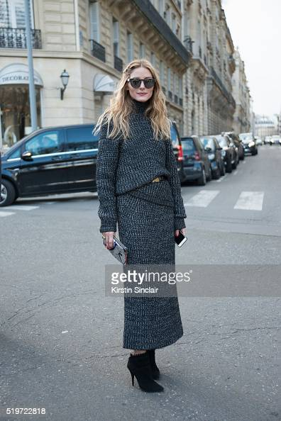 Actress and Model Olivia Palermo wears a Pringle sweater and skirt Tabata Simon shoes and Tibi belt on day 6 during Paris Fashion Week Autumn/Winter...