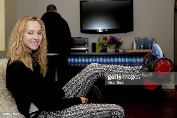 Actress and model Suki Waterhouse attends Kari Feinstein's Music Festival Style Lounge at Sunset Marquis Hotel Villas on April 7 2015 in West...