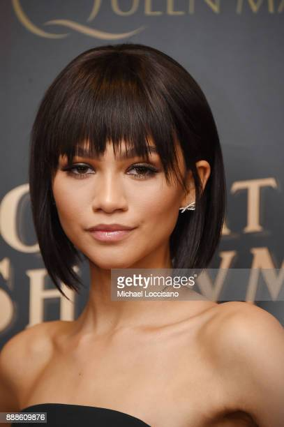 Actress and model Zendaya attends the 'The Greatest Showman' World Premiere aboard the Queen Mary 2 at the Brooklyn Cruise Terminal on December 8...