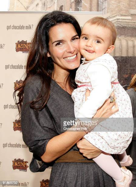 Actress and mom Angie Harmon unveils her new Milk Mustache ad and celebrates chocolate milk as 'The Official Drink of Halloween' on New York Street...