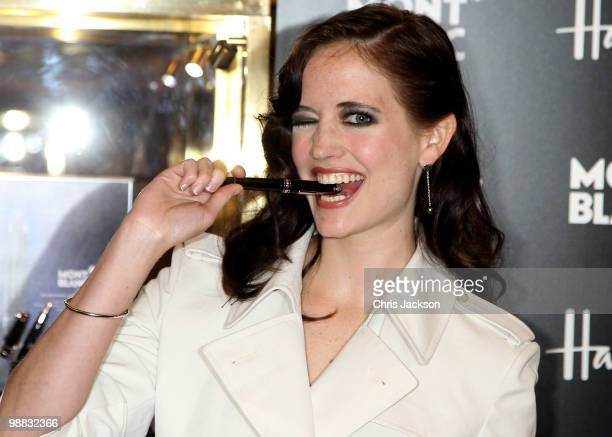Actress and Montblanc ambassador Eva Green poses with the new Montblanc Meisterstuck Diamond writing intrument at Harrods on May 4 2010 in London...