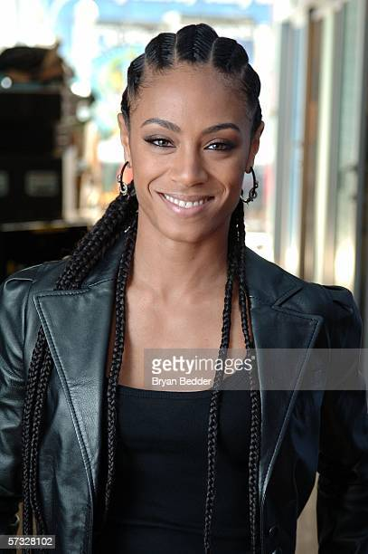 Actress and musician Jada Pinkett Smith of the band Wicked Wisdom makes an appearance at MTV studios for a taping of MTV 2 Presents Headbangers Ball...