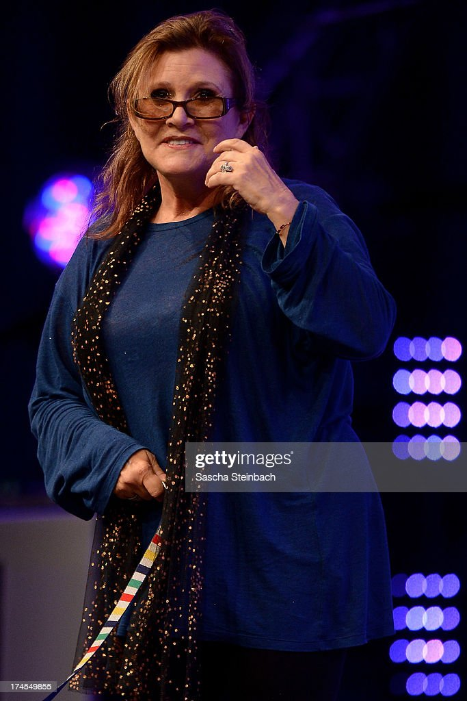 Actress and novelist <a gi-track='captionPersonalityLinkClicked' href=/galleries/search?phrase=Carrie+Fisher&family=editorial&specificpeople=209183 ng-click='$event.stopPropagation()'>Carrie Fisher</a>, best known for her performance as Princess Leia in the original Star Wars trilogy, attends the Star Wars Celebration at Messe Essen on July 27, 2013 in Essen, Germany.