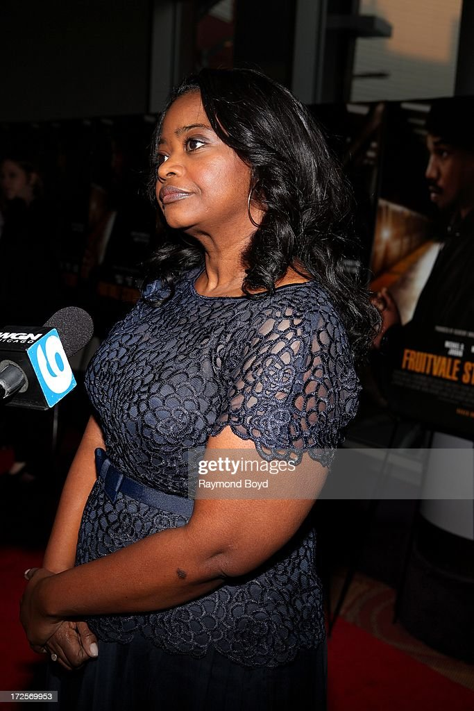 Actress and Oscar winner Octavia Spencer is interviewed during the red carpet arrivals for the 'Fruitvale Station' movie screening at the Showplace...