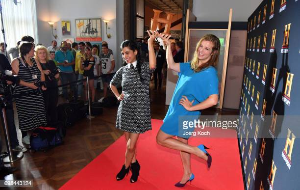 Actress and patroness Collien UlmenFernandes and host Nina Eichinger attend the HISTORY Award 2017 ceremony by TV channel HISTORY at Deutsches Museum...