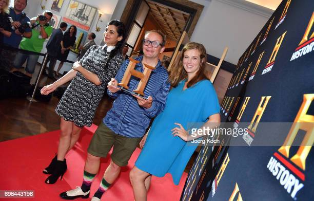 Actress and patroness Collien UlmenFernandes host and juror Wigald Boning and host Nina Eichinger attend the HISTORY Award 2017 ceremony by TV...