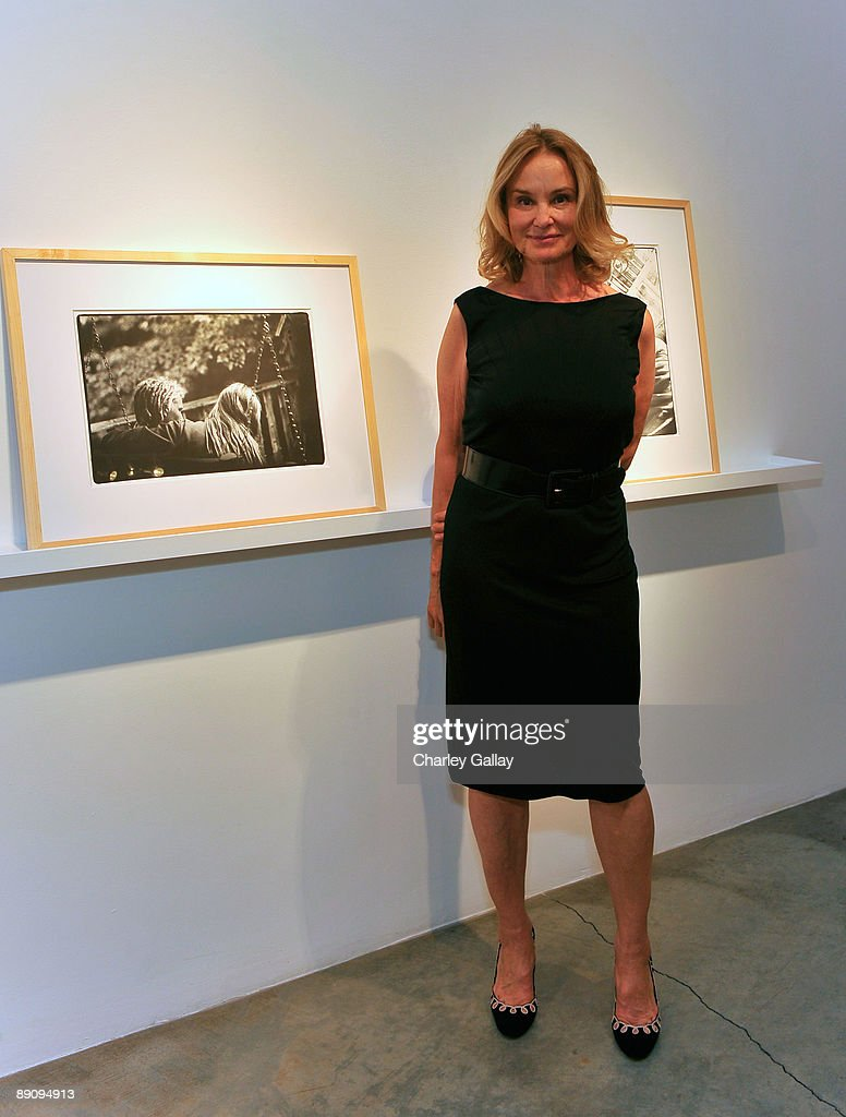 Actress and photographer, Jessica Lange poses with her photographs during the reception of 'Jessica Lange: 50 Photographs 1992-2008' at The Rose Gallery on July 18, 2009 in Santa Monica, California.
