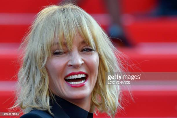 US actress and President of the Un Certain Regard jury Uma Thurman smiles as she arrives on May 27 2017 for the Un Certain Regard prize ceremony at...