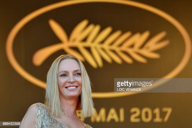 US actress and President of the Un Certain Regard jury Uma Thurman smiles as she arrives on May 28 2017 for the closing ceremony of the 70th edition...