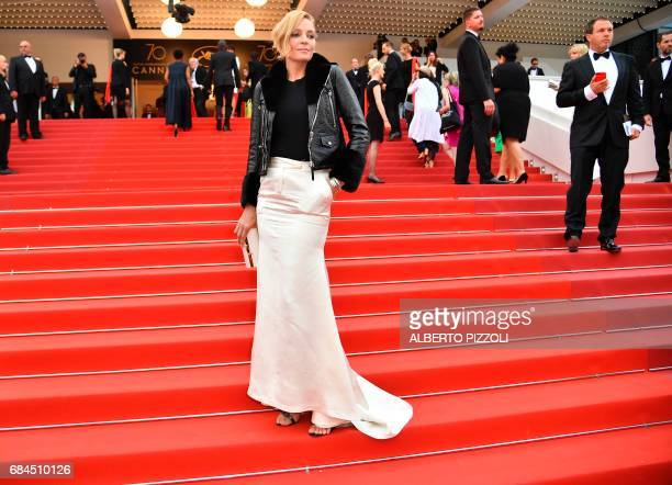 US actress and President of the Un Certain Regard jury Uma Thurman poses as she arrives on May 18 2017 for the screening of the film 'Barbara' at the...