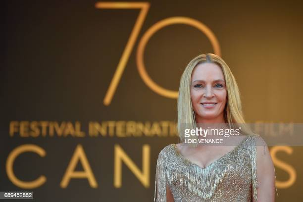 US actress and President of the Un Certain Regard jury Uma Thurman poses as she arrives on May 28 2017 for the closing ceremony of the 70th edition...