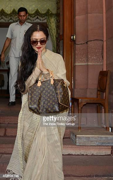 Actress and Rajya Sabha member Rekha at Parliament House in New Delhi