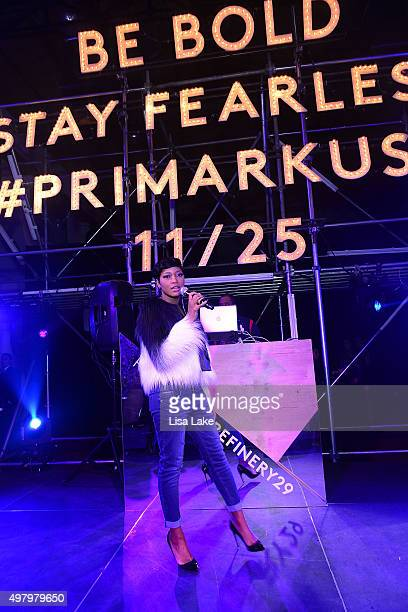 Actress and Recording Artist Keke Palmer performs at The Keke Palmer Refinery29 Host Club Primania Event at Skybox Event Center on November 19 2015...