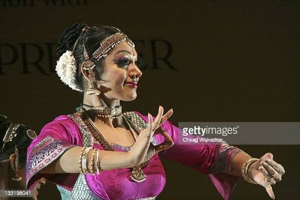Actress and renowned bharatanatyam exponent Shobhana Pillai dances on stage at Music Today's 'Yami A Salute to Womanhood' event held at the...