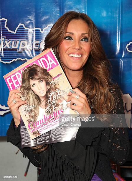 Actress and singer Anahi attends the launch and signing of her album 'Mi Delirio' at MixUp Plaza Satelite on December 1 2009 in Mexico City Mexico