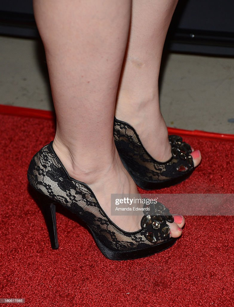 Actress and singer Angie Gega (shoe detail) arrives at the Los Angeles Premiere of 'The Devil's Dozen' at Mann's Chinese 6 Theatres on February 1, 2013 in Hollywood, California.