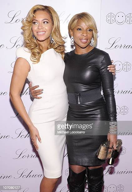 Actress and singer Beyonce Knowles and singer Mary J Blige attend the launch of Lorraine Schwartz's '2BHAPPY' jewelry collection at Lavo NYC on...