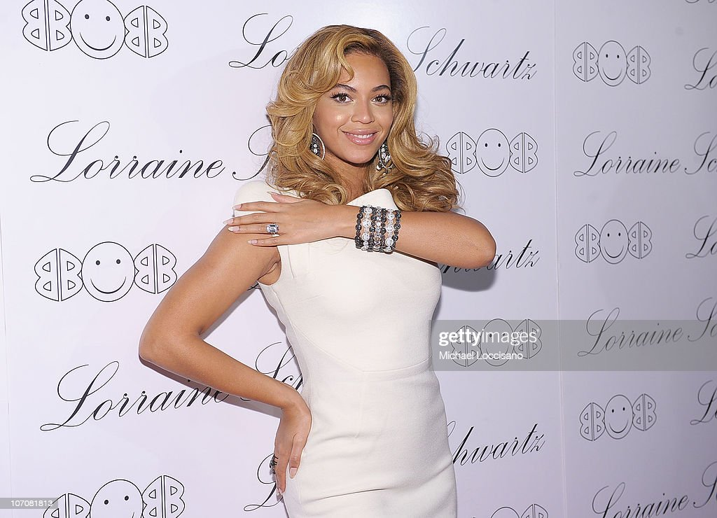 Actress and singer Beyonce Knowles hosts the launch of Lorraine Schwartz's '2BHAPPY' jewelry collection at Lavo NYC on November 22 2010 in New York...