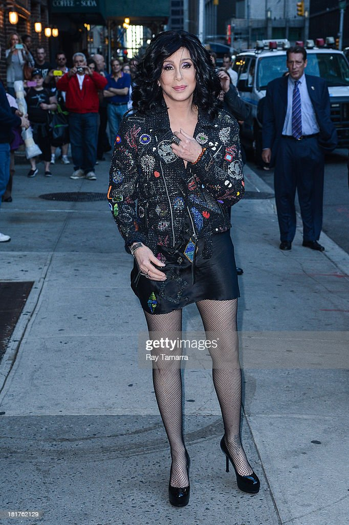 Actress and singer <a gi-track='captionPersonalityLinkClicked' href=/galleries/search?phrase=Cher+-+Performer&family=editorial&specificpeople=203036 ng-click='$event.stopPropagation()'>Cher</a> leaves the 'Late Show With David Letterman' taping at the Ed Sullivan Theater on September 24, 2013 in New York City.